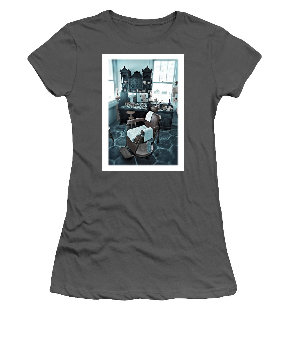 Barber Women's T-Shirt (Athletic Fit) featuring the photograph The Old American Barbershop by Mal Bray