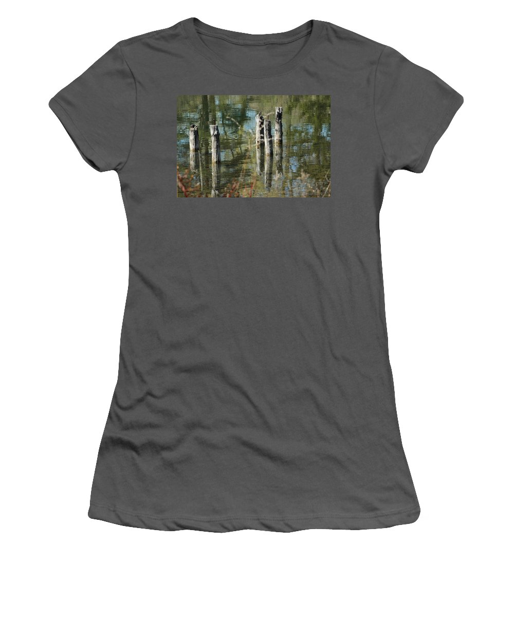 Landscapes Women's T-Shirt (Athletic Fit) featuring the photograph The Old Swimming Hole by LeeAnn McLaneGoetz McLaneGoetzStudioLLCcom