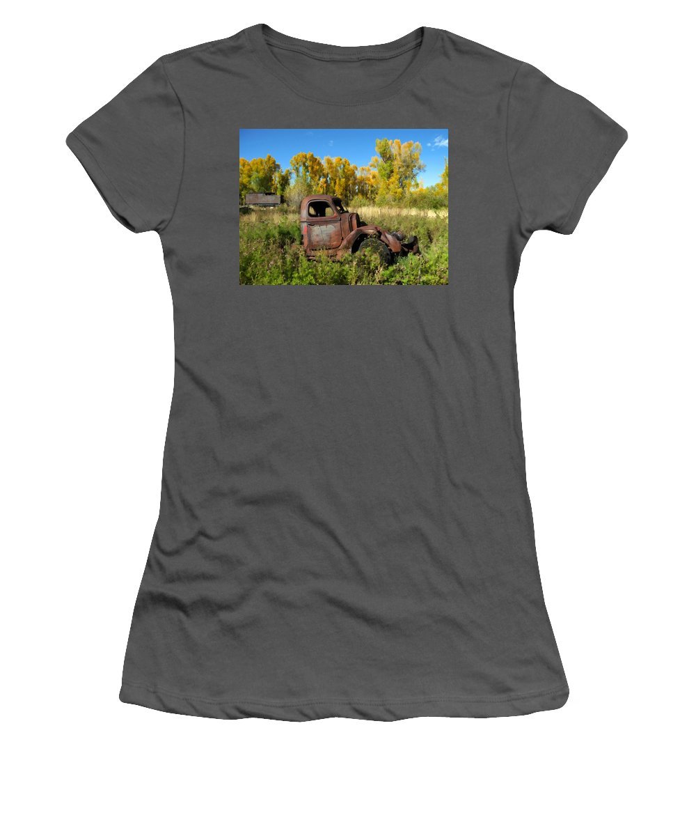 Truck Women's T-Shirt (Athletic Fit) featuring the photograph The Old Truck Chama New Mexico by Kurt Van Wagner