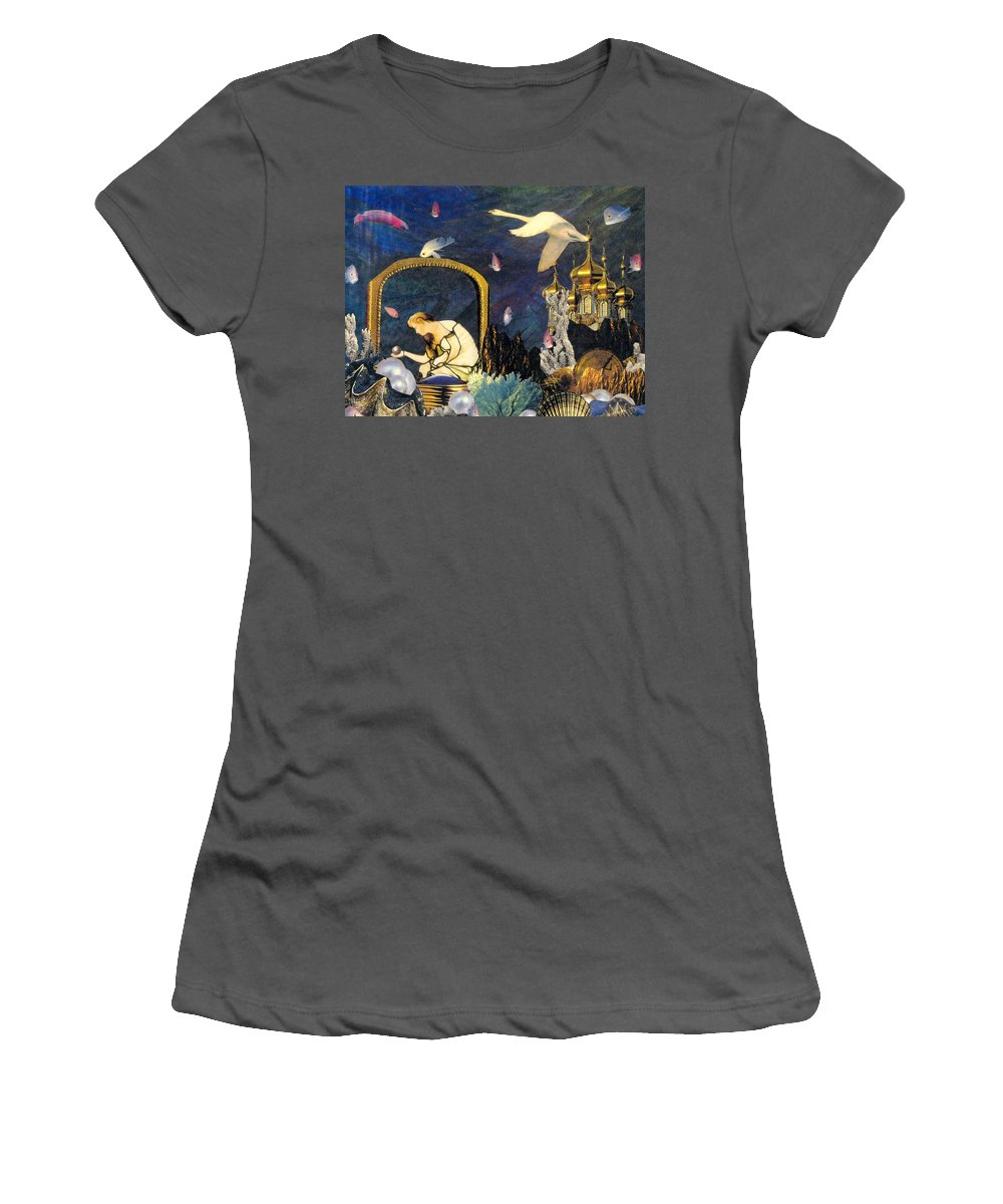 Surealism Women's T-Shirt (Athletic Fit) featuring the mixed media The Pearl Of Great Price by Gail Kirtz