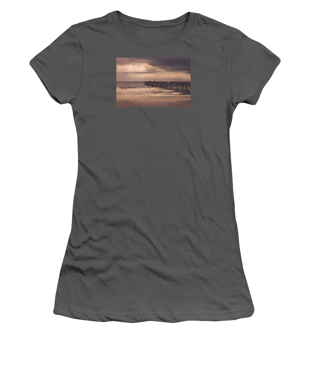 Flagler Beach Pier Women's T-Shirt (Athletic Fit) featuring the photograph The Pier Before The Storm by Rodney Perry