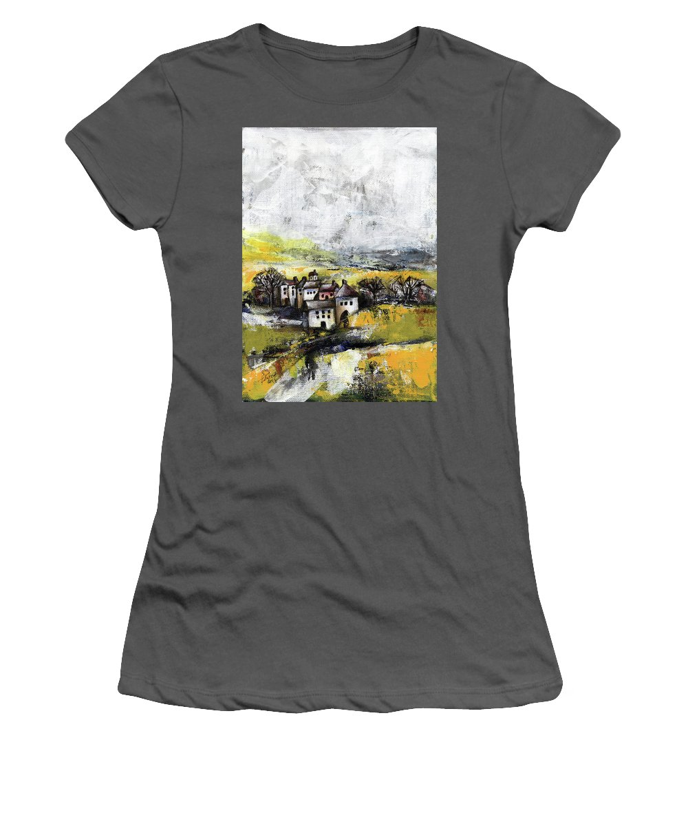 Landscape Women's T-Shirt (Athletic Fit) featuring the painting The Pink House by Aniko Hencz