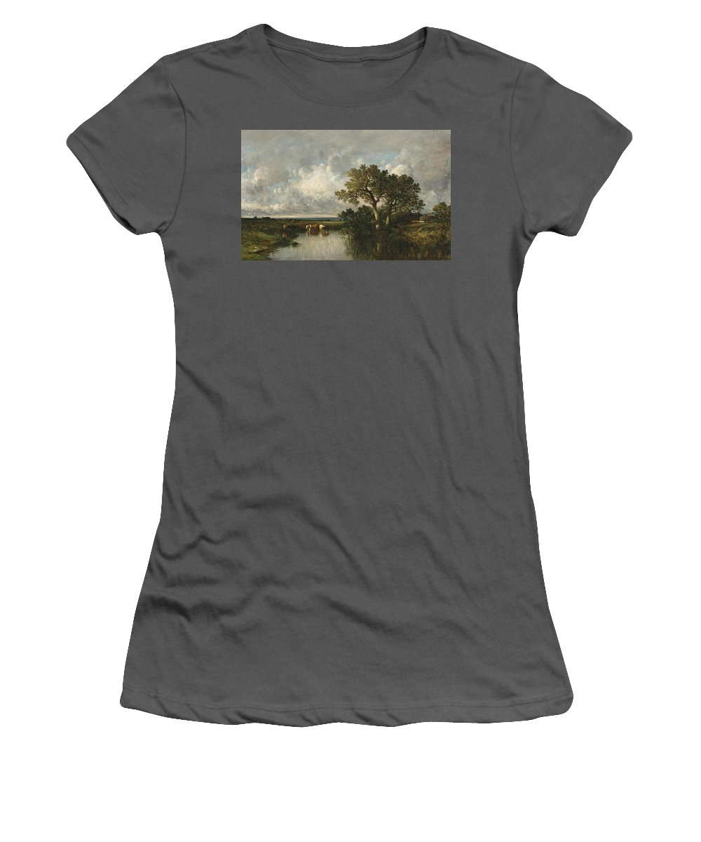 Leon-victor Dupre Women's T-Shirt (Athletic Fit) featuring the painting The Pond With Oaks by Leon-Victor Dupre
