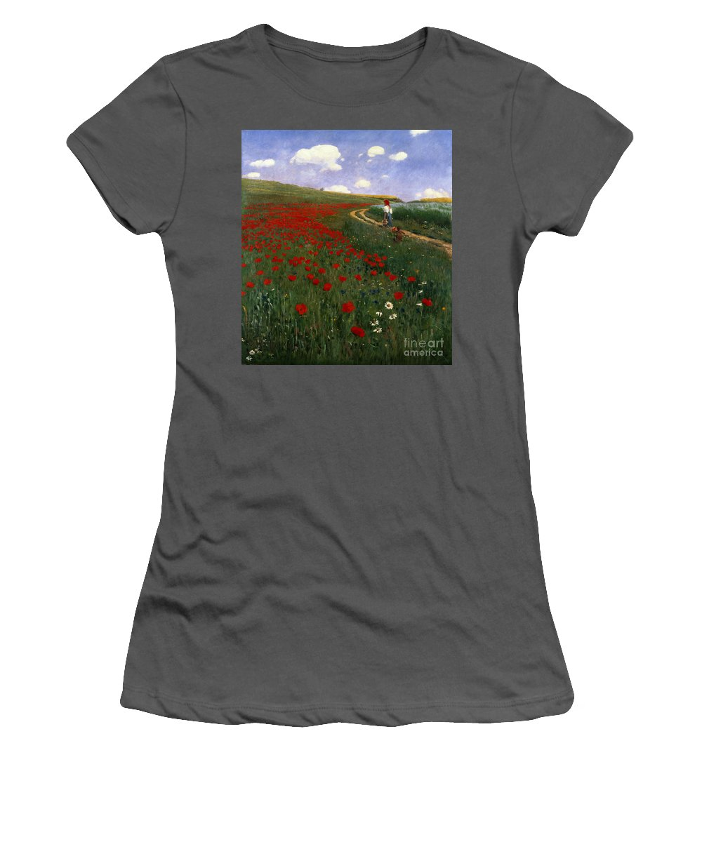 The Poppy Field By Pal Szinyei Merse (1845-1920) Women's T-Shirt (Athletic Fit) featuring the painting The Poppy Field by Pal Szinyei Merse