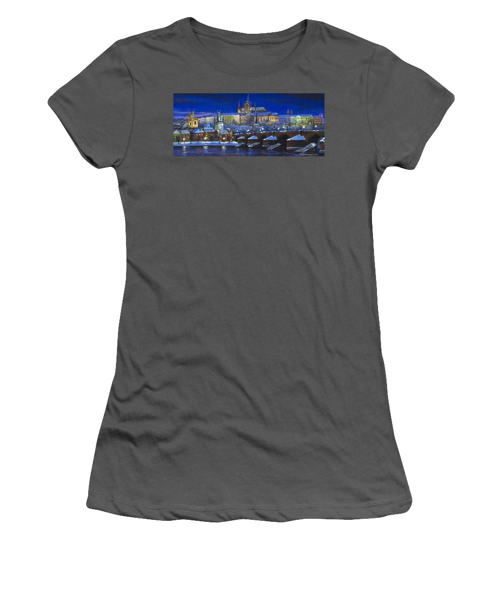 Prague Women's T-Shirt (Athletic Fit) featuring the painting The Prague Panorama by Yuriy Shevchuk