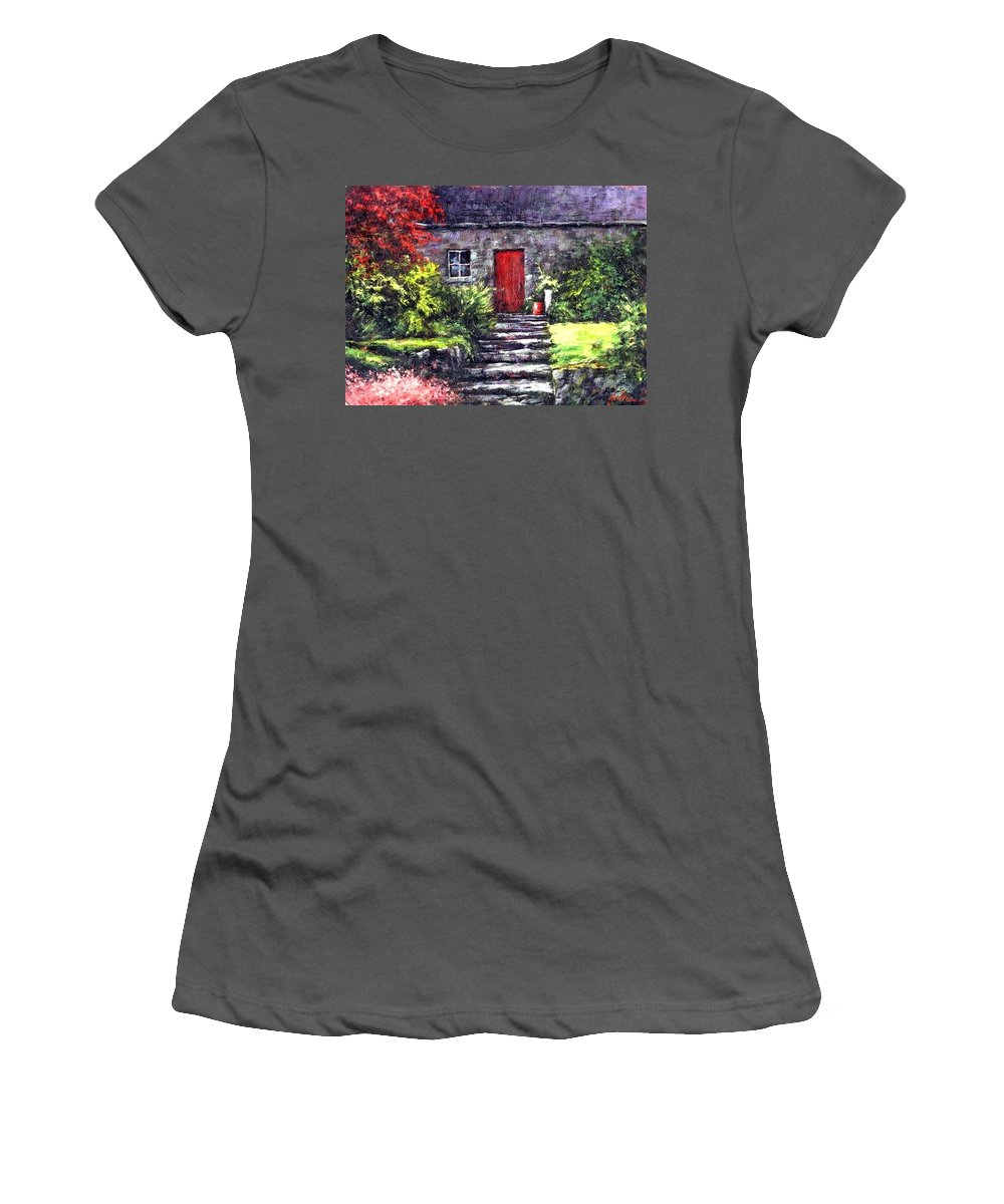 Ireland Women's T-Shirt (Athletic Fit) featuring the painting The Red Door by Jim Gola