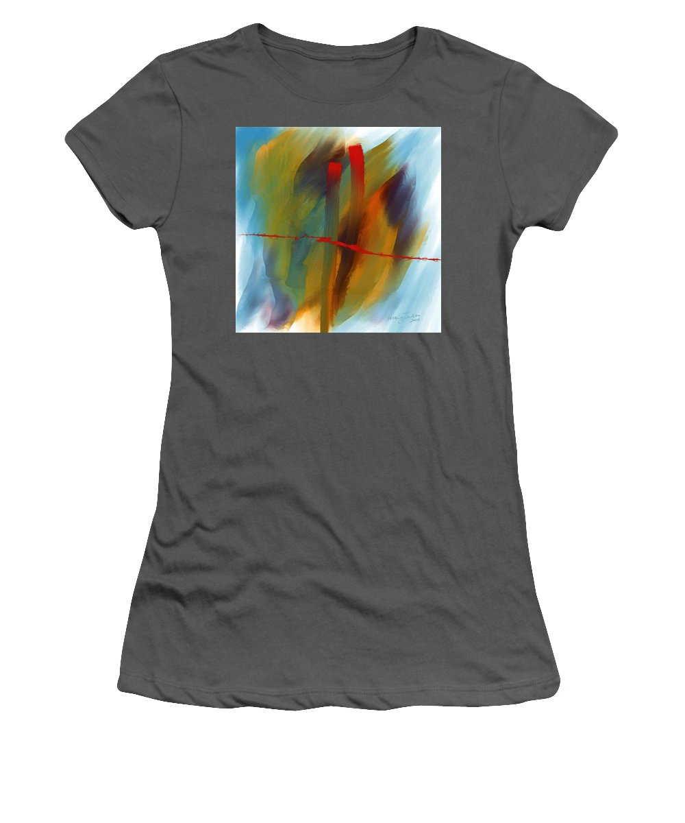 Red Abstract Lines Soft Moves Air Water Women's T-Shirt (Athletic Fit) featuring the digital art The Red Line by Veronica Jackson
