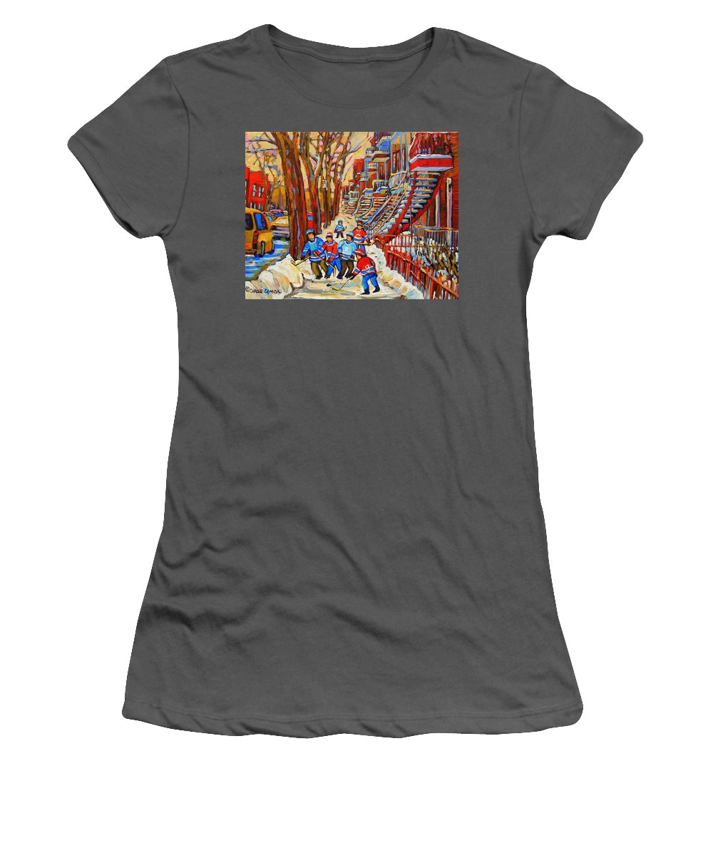 Women's T-Shirt (Athletic Fit) featuring the painting The Red Staircase Painting By Montreal Streetscene Artist Carole Spandau by Carole Spandau