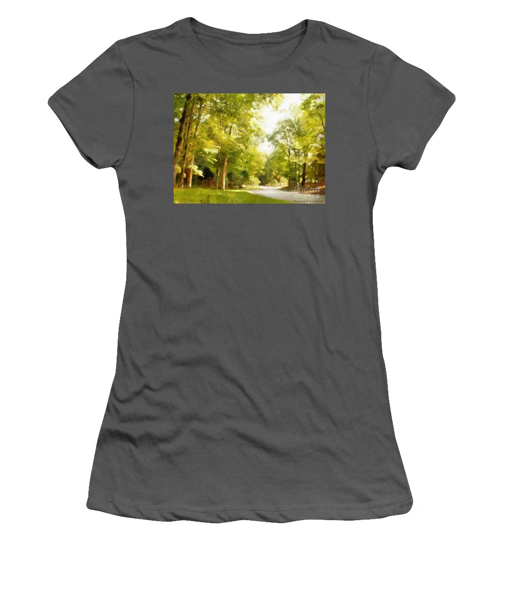 Road Women's T-Shirt (Athletic Fit) featuring the photograph The Road Home by Paulette B Wright