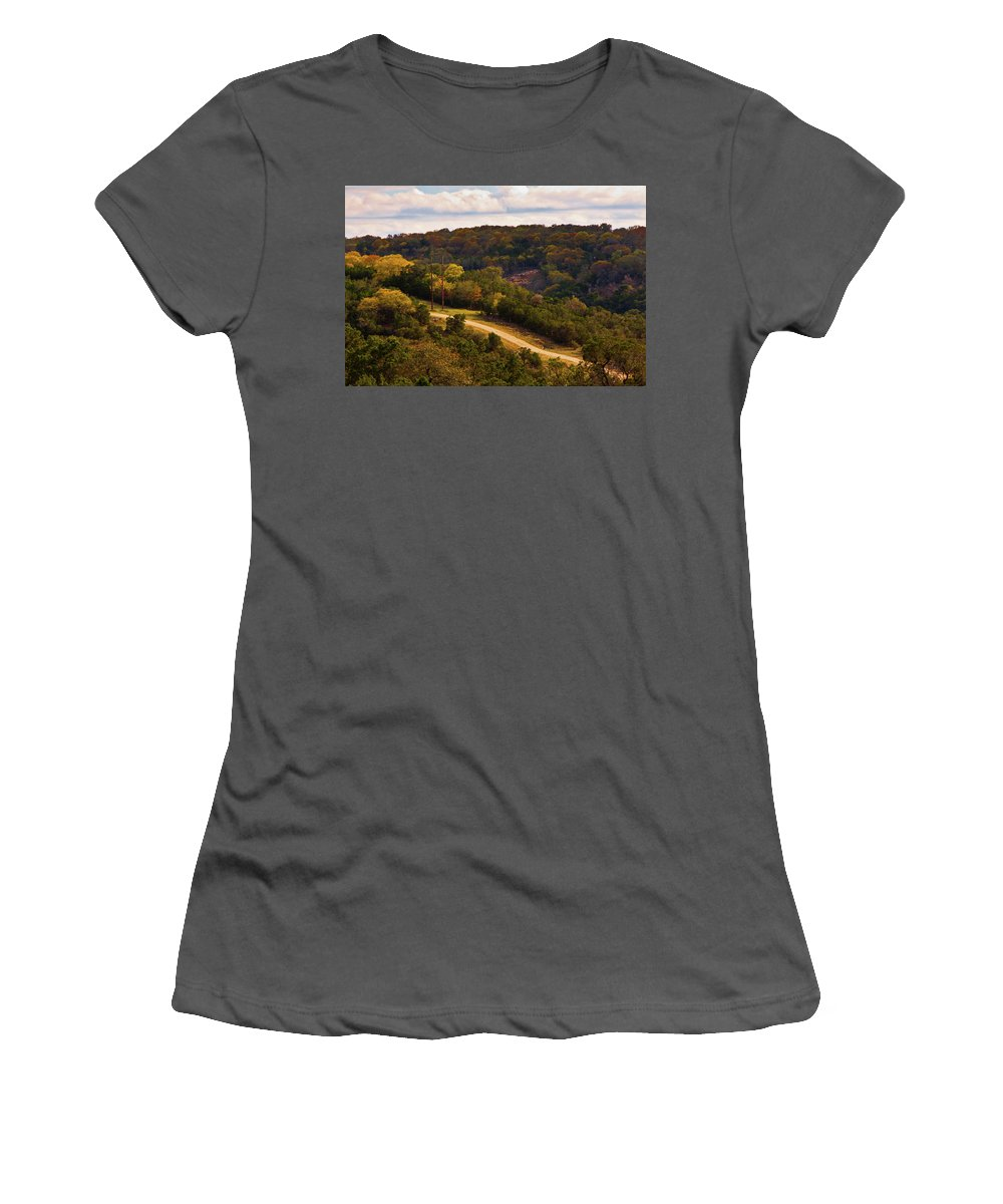Landscape Women's T-Shirt (Athletic Fit) featuring the photograph The Road Less Traveled by Jill Smith