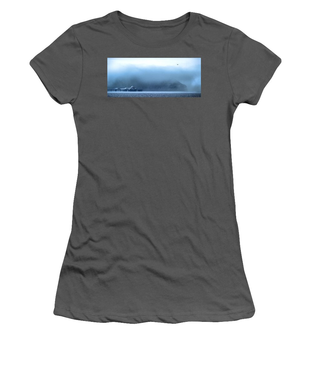 Pier Women's T-Shirt (Athletic Fit) featuring the photograph The Sea Mist Lifts To Reveal The Great Orme Behind Llandudno Pier by Mal Bray