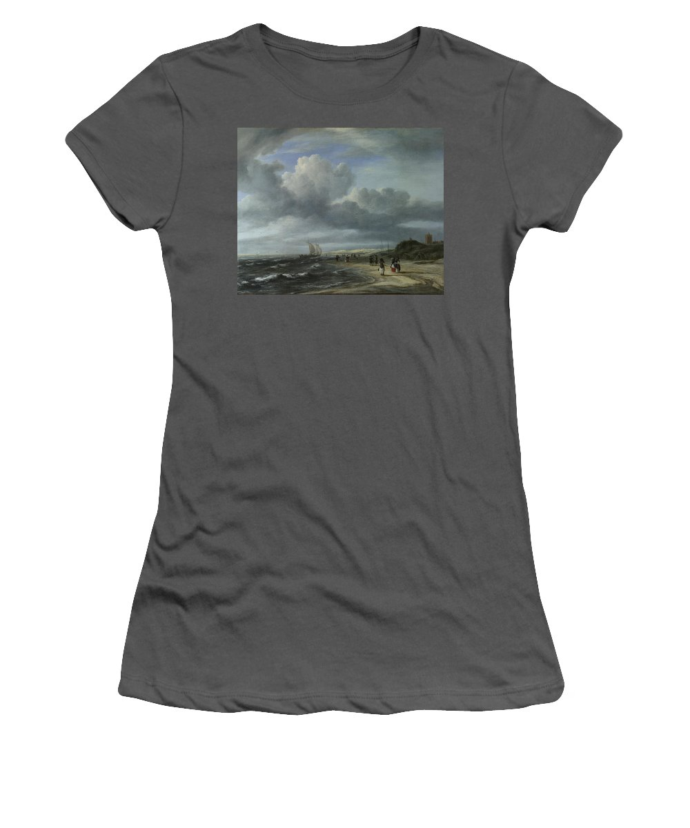 Jacob Women's T-Shirt (Athletic Fit) featuring the digital art The Shore At Egmond Aan Zee by PixBreak Art