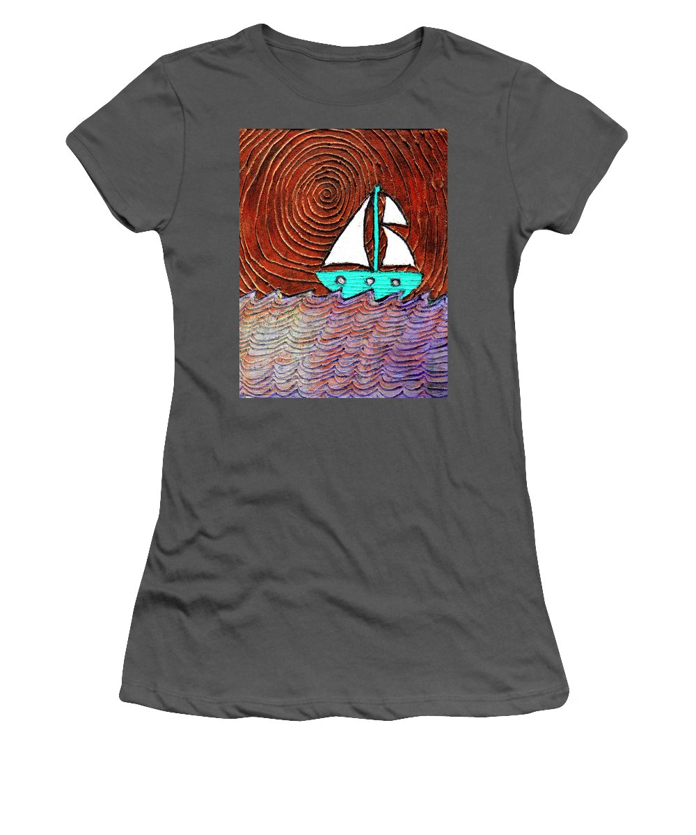 Sailing Women's T-Shirt (Athletic Fit) featuring the painting The Sky Was Bronze That Night by Wayne Potrafka