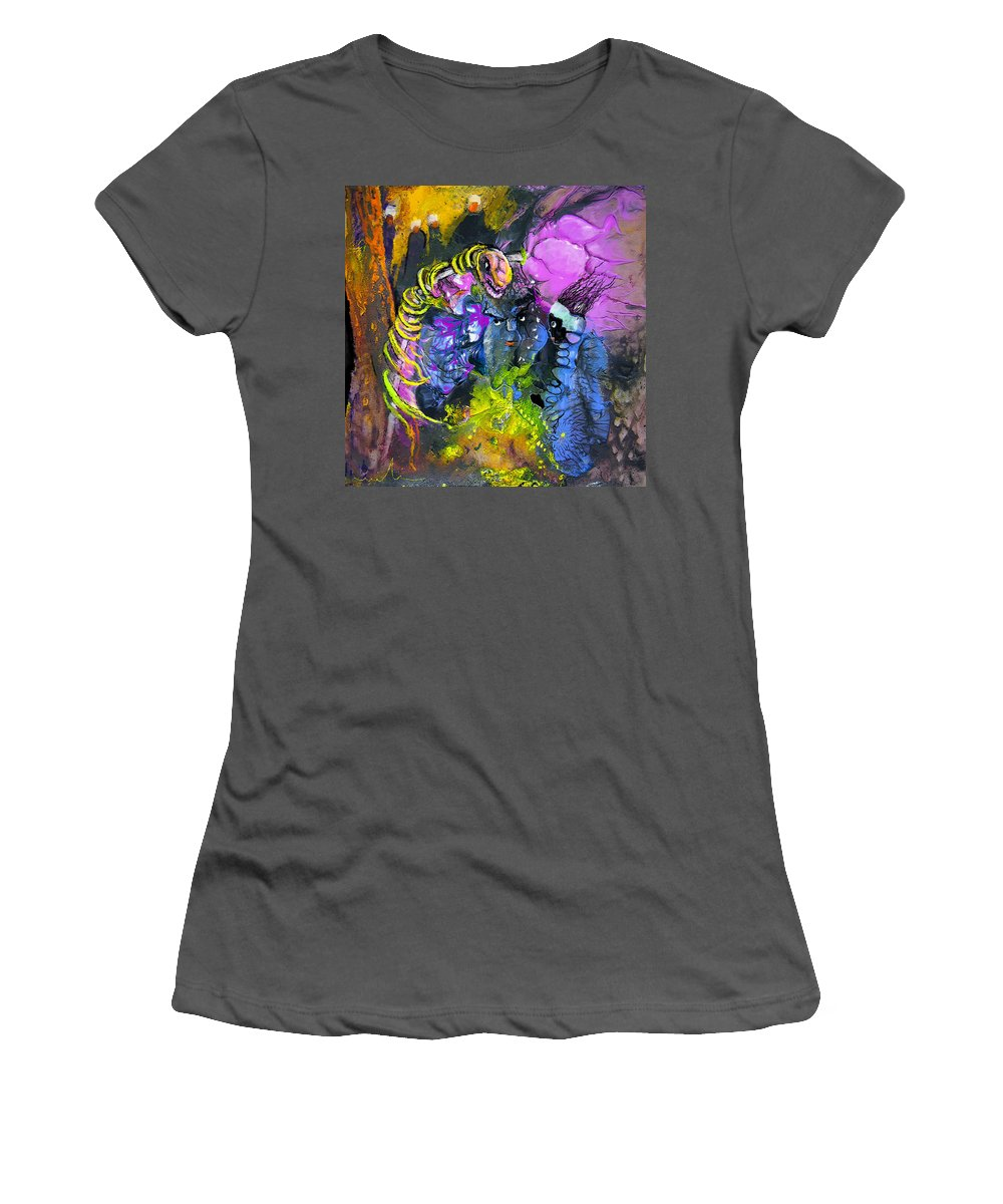 Fantasy Women's T-Shirt (Athletic Fit) featuring the painting The Snake The Rose And The Black Angel by Miki De Goodaboom