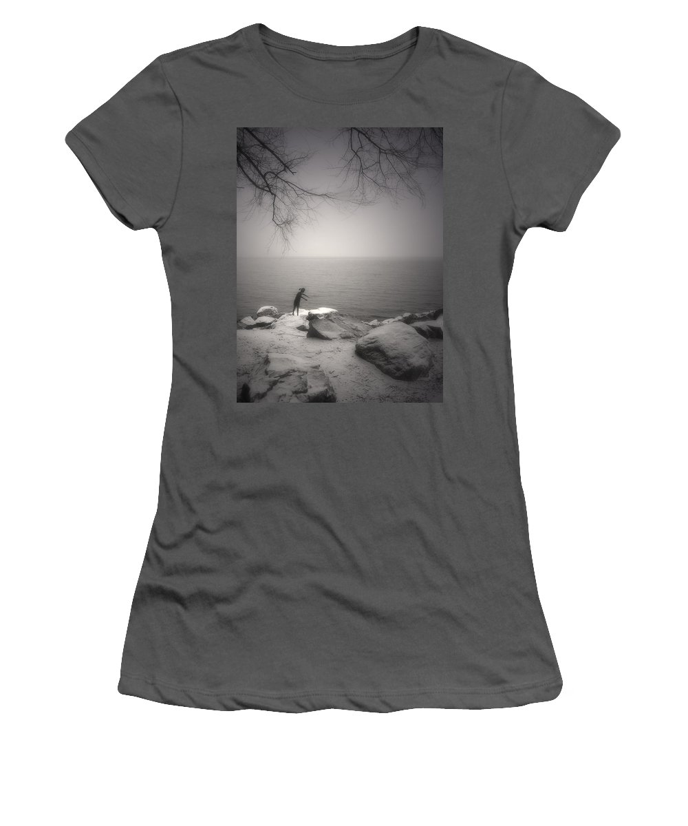 Statue Women's T-Shirt (Athletic Fit) featuring the photograph The Snow Gatherer by Tara Turner