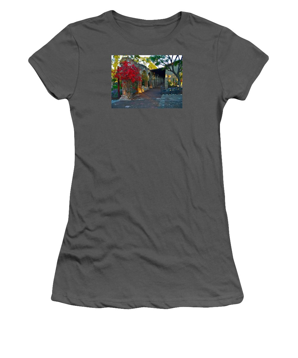 Soldier Women's T-Shirt (Athletic Fit) featuring the photograph The Soldiers Barracks San Juan Capistrano Mission California by Karon Melillo DeVega