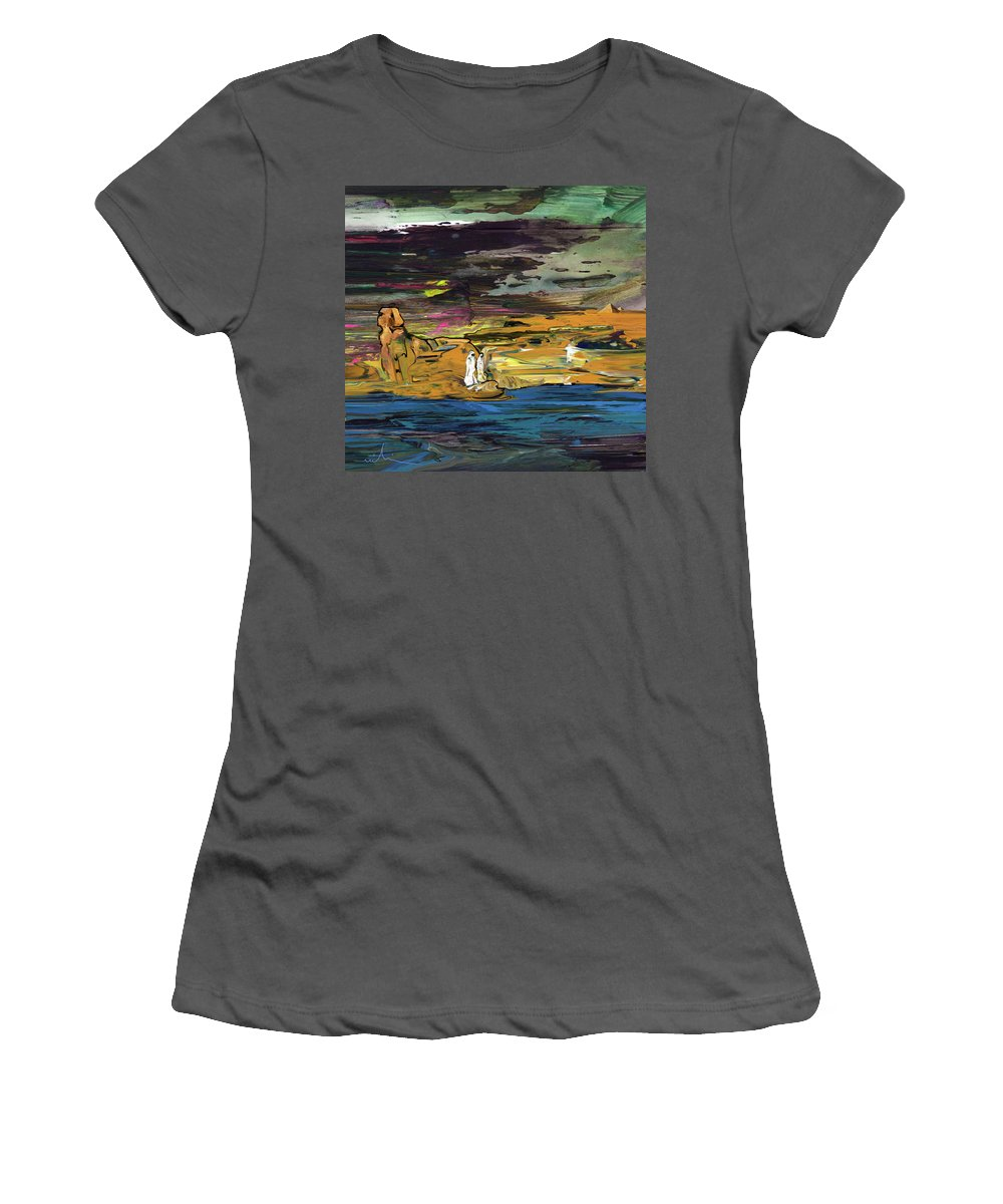 Landscapes Women's T-Shirt (Athletic Fit) featuring the painting The Sphinx by Miki De Goodaboom