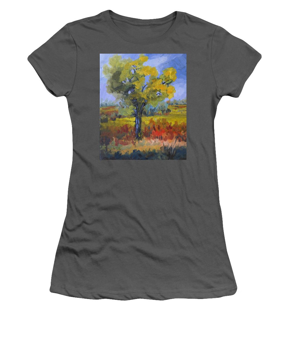 Spring Women's T-Shirt (Athletic Fit) featuring the painting The Spring Tree by Heather Coen