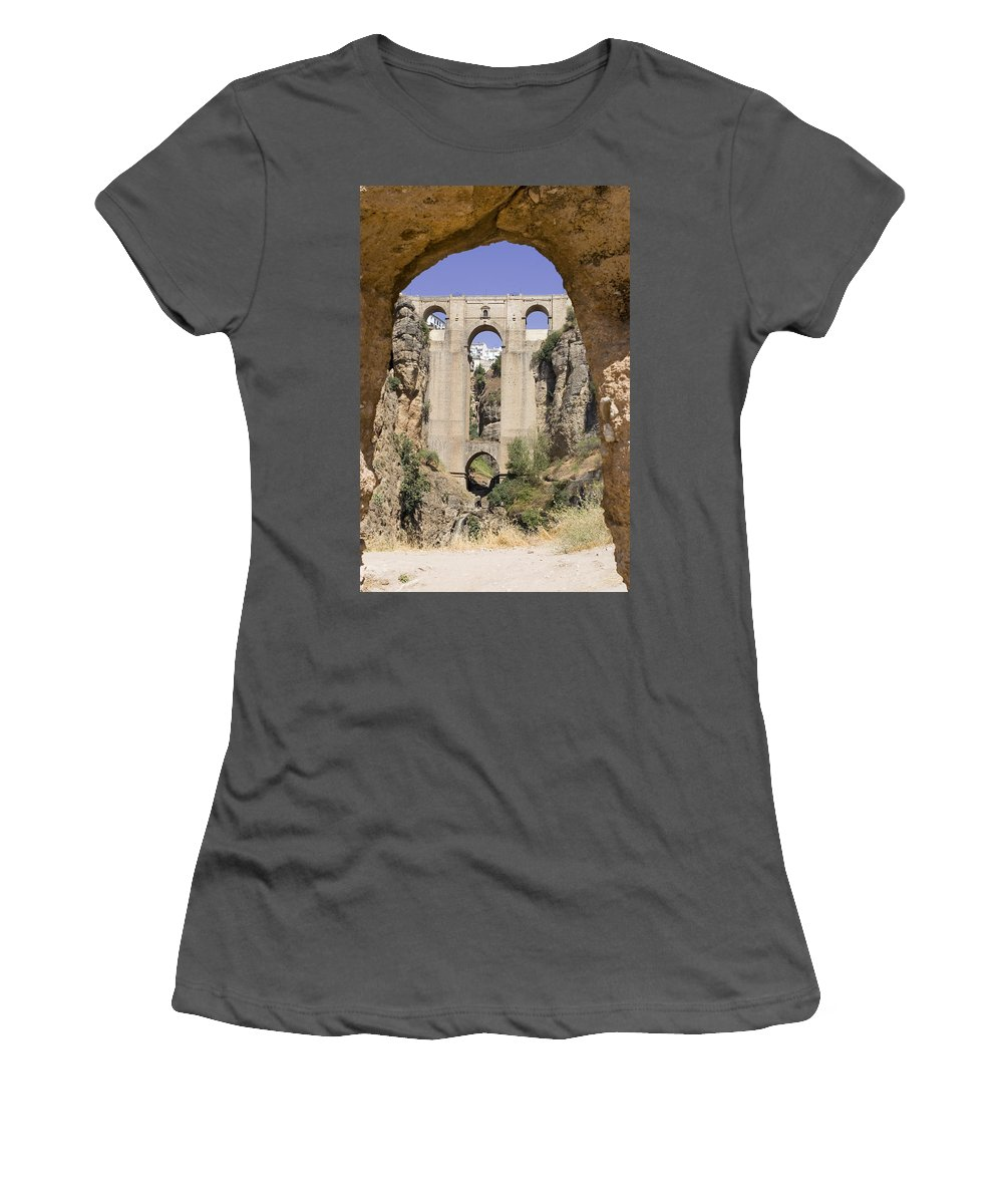 Ronda Women's T-Shirt (Athletic Fit) featuring the photograph The Tajo De Ronda And Puente Nuevo Bridge Andalucia Spain Europe by Mal Bray