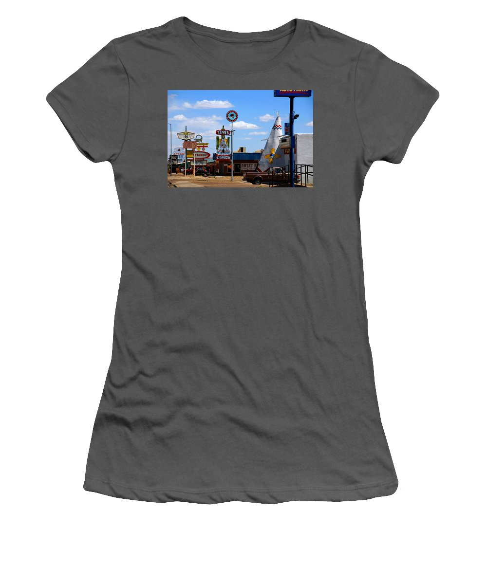 Tucumcari Women's T-Shirt (Athletic Fit) featuring the photograph The Tee-pee Curios On Route 66 Nm by Susanne Van Hulst