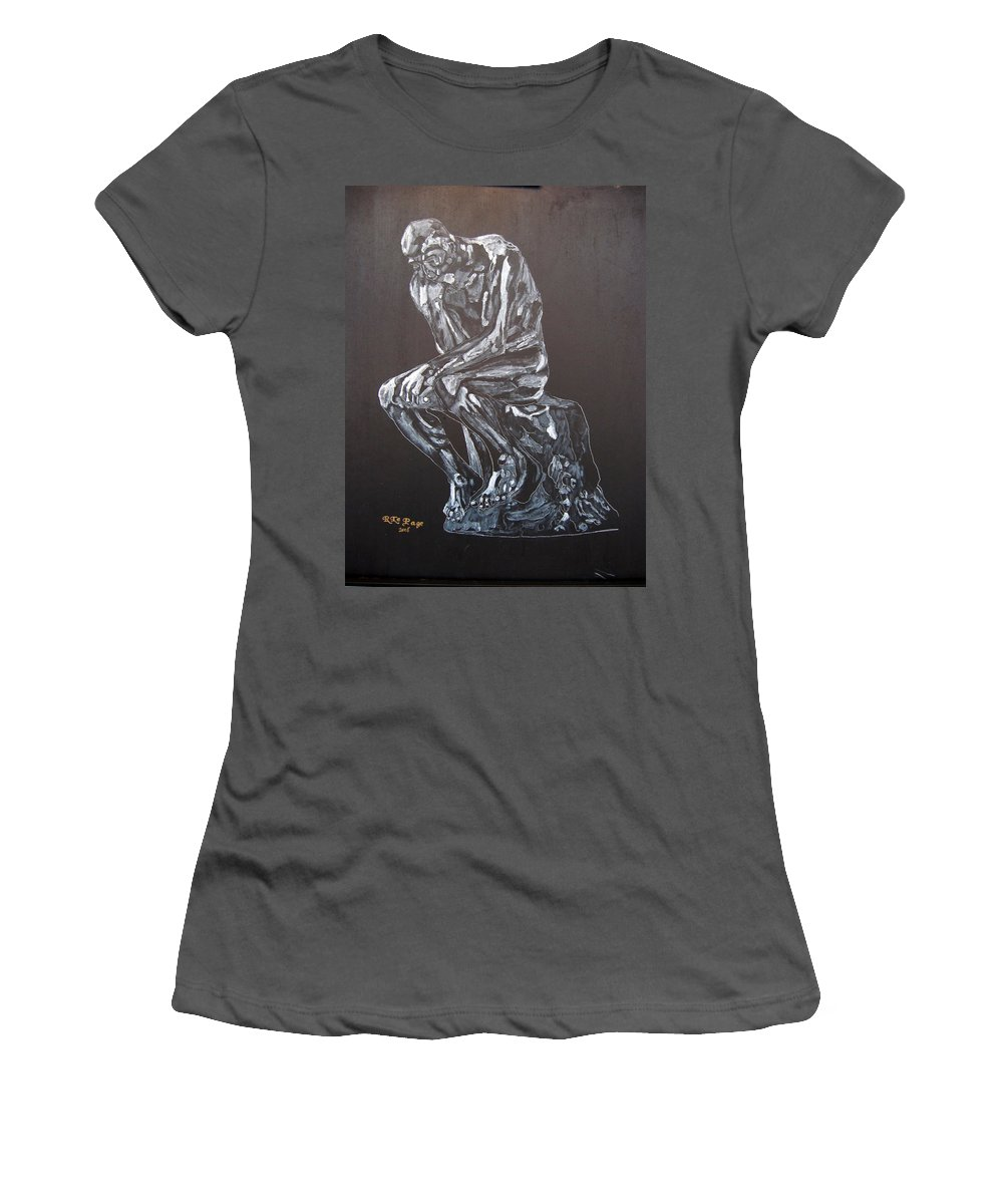 The Thinker Women's T-Shirt (Athletic Fit) featuring the painting The Thinker by Richard Le Page