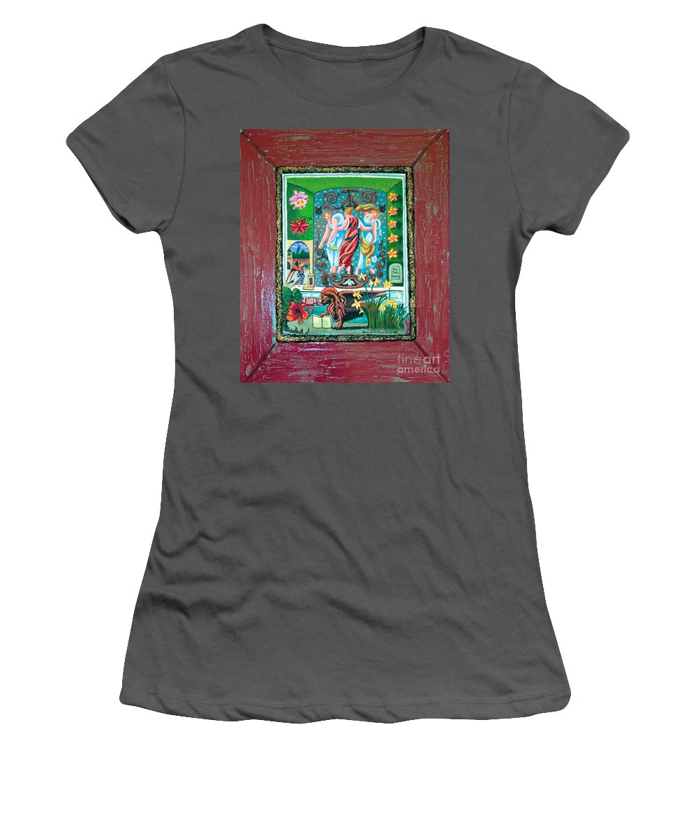 Women Women's T-Shirt (Athletic Fit) featuring the painting The Three Sisters by Genevieve Esson