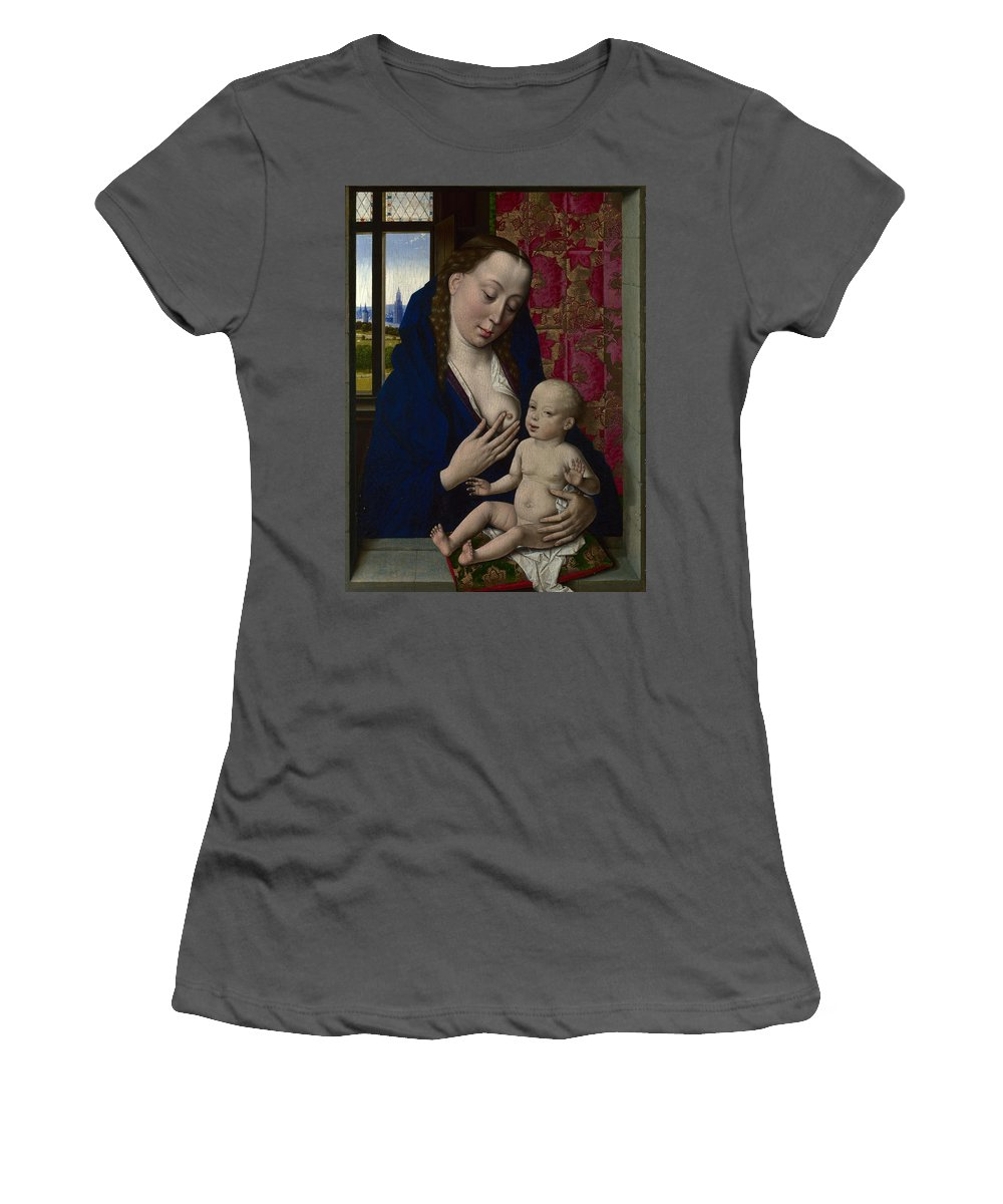 Dirk Women's T-Shirt (Athletic Fit) featuring the digital art The Virgin And Child by PixBreak Art