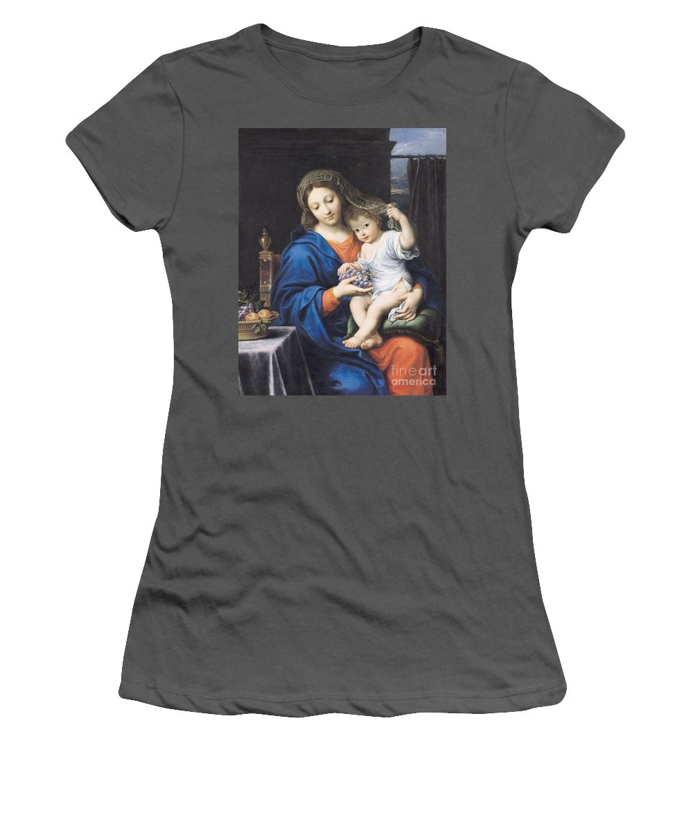 The Virgin Of The Grapes Women's T-Shirt (Athletic Fit) featuring the painting The Virgin Of The Grapes by Pierre Mignard
