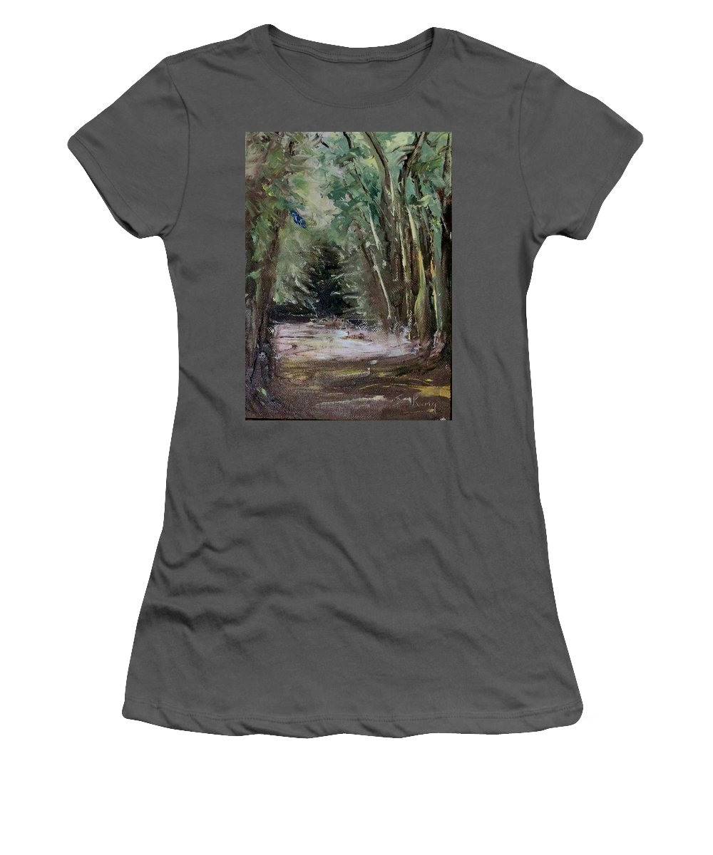Landscape Women's T-Shirt (Athletic Fit) featuring the painting The Walk by Stephen King