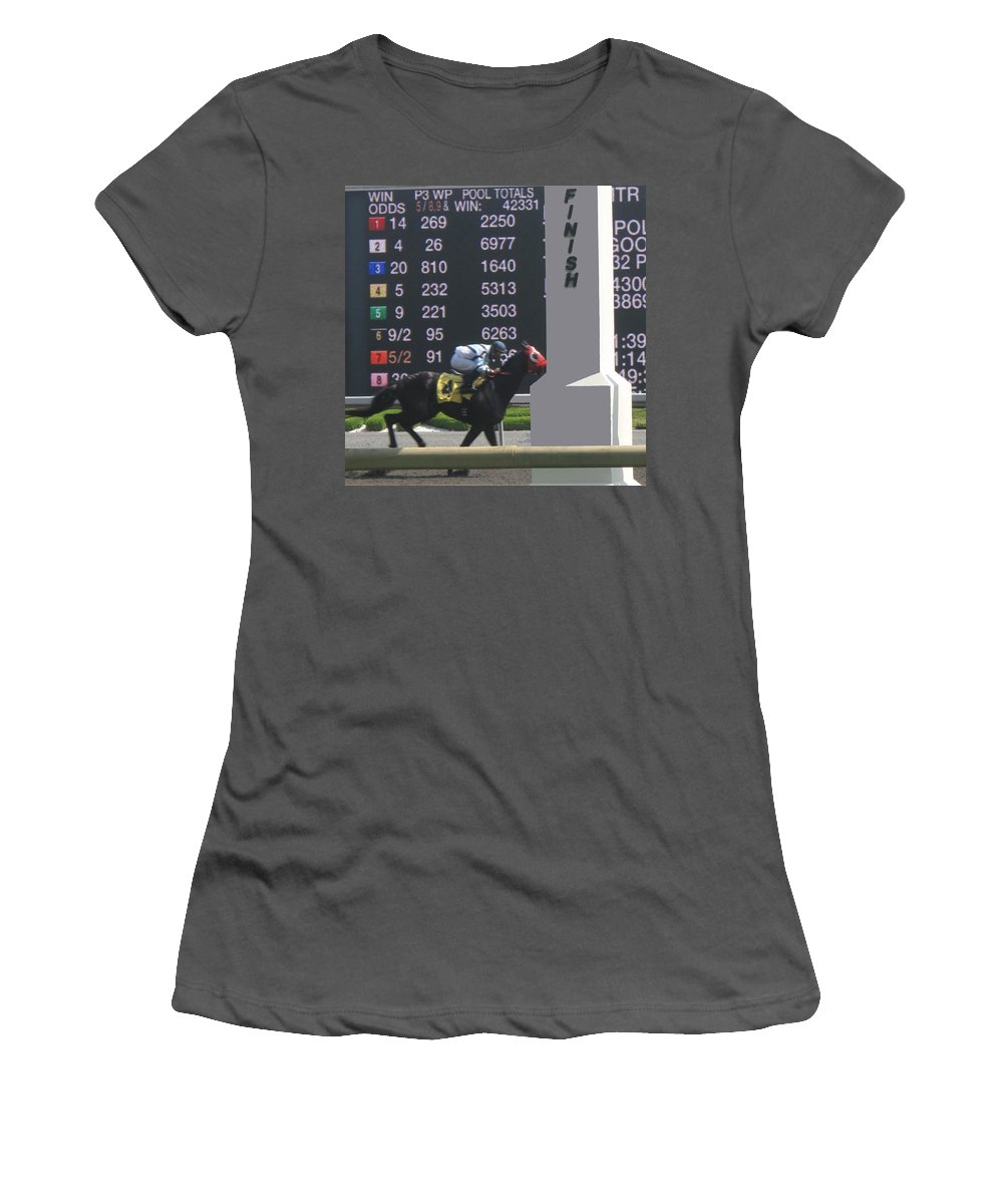 Horse Women's T-Shirt (Athletic Fit) featuring the photograph The Winner by Ian MacDonald