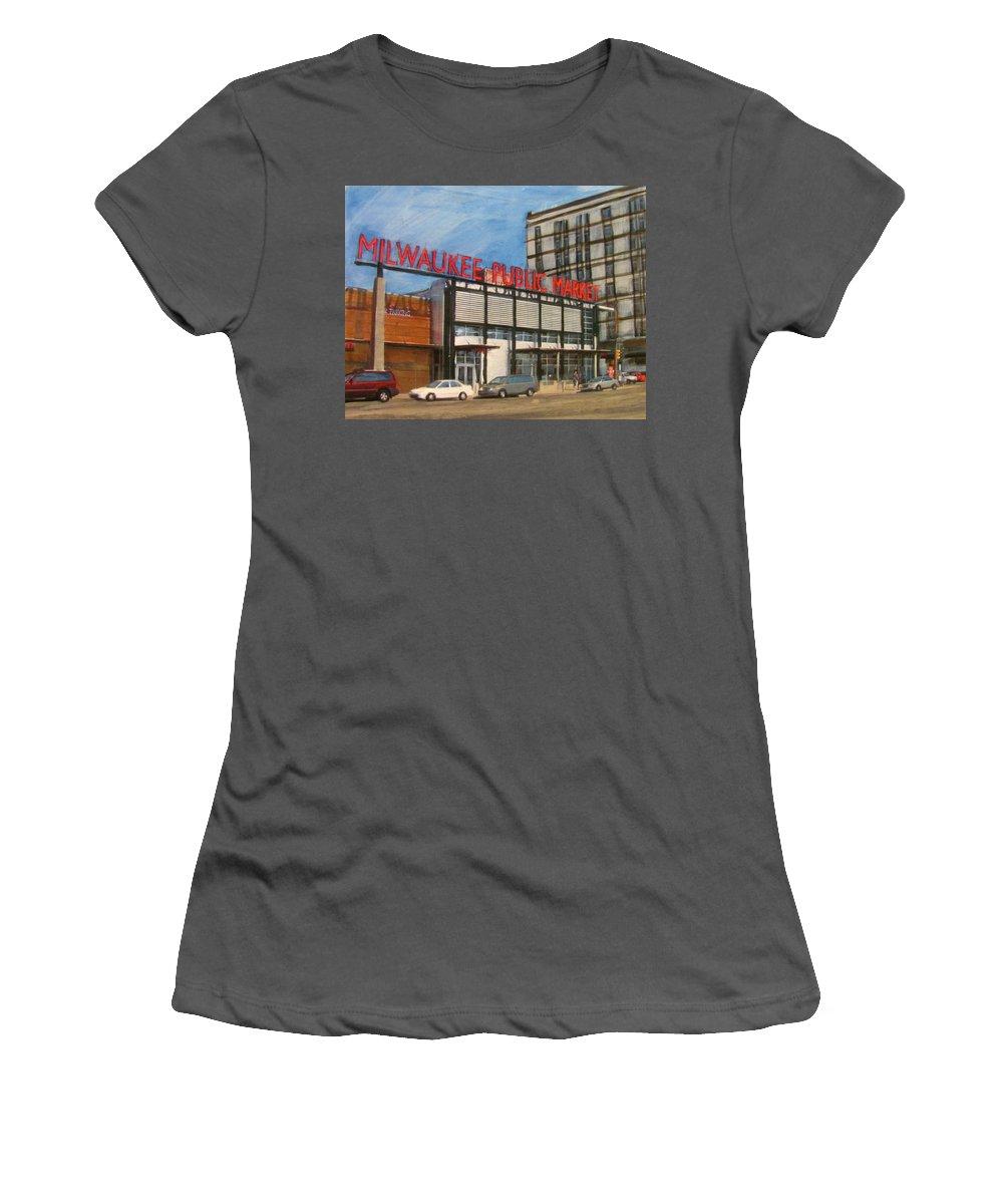 Milwaukee Women's T-Shirt (Athletic Fit) featuring the mixed media Third Ward - Milwaukee Public Market by Anita Burgermeister