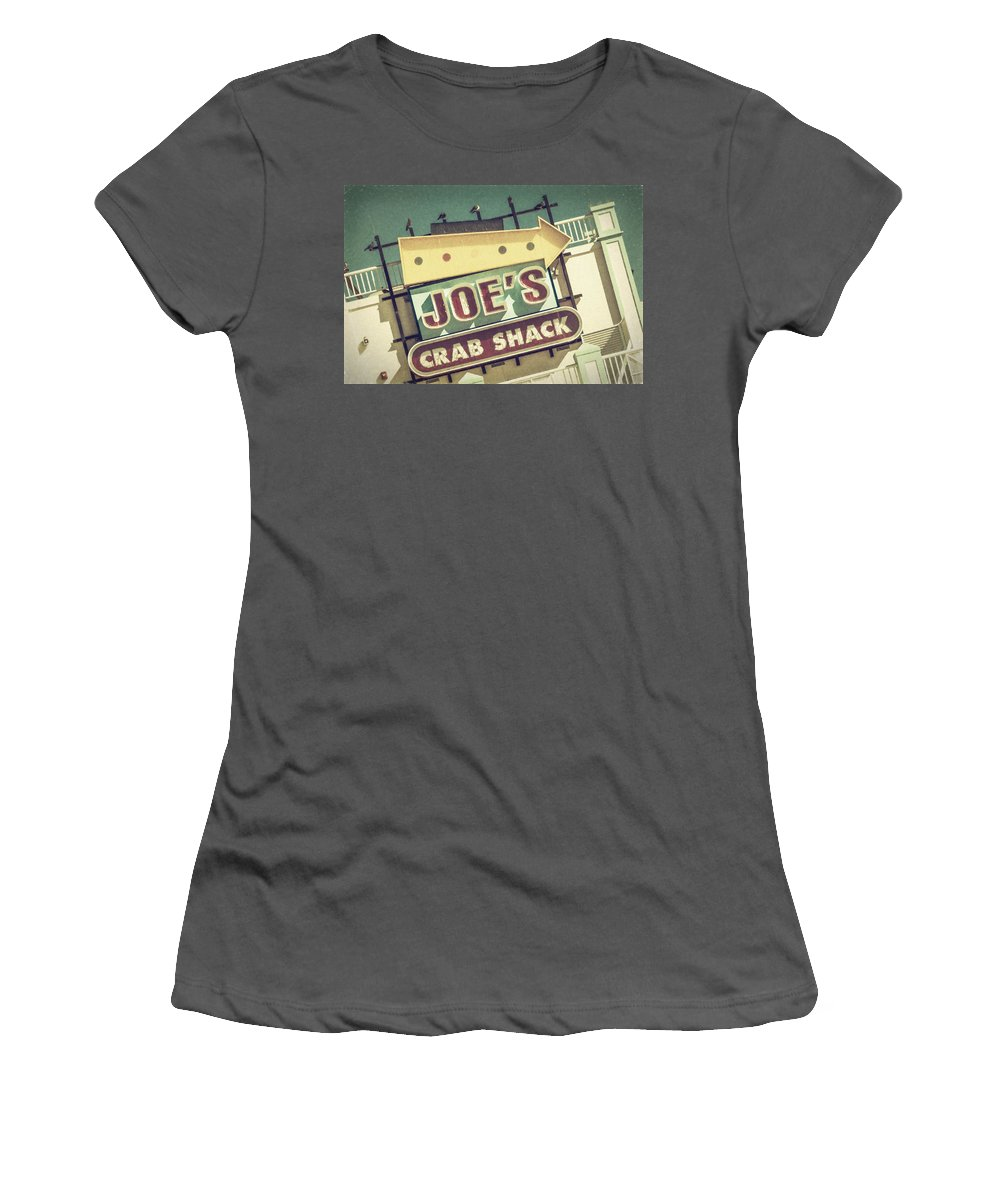Joan Carroll Women's T-Shirt (Athletic Fit) featuring the photograph This Way To Joe's Crab Shack by Joan Carroll