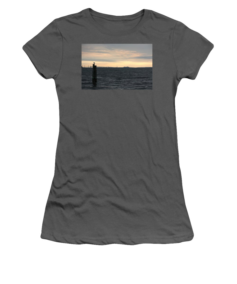 Thomas Women's T-Shirt (Athletic Fit) featuring the photograph Thomas Point - View Of The Bay Bridge by Ronald Reid