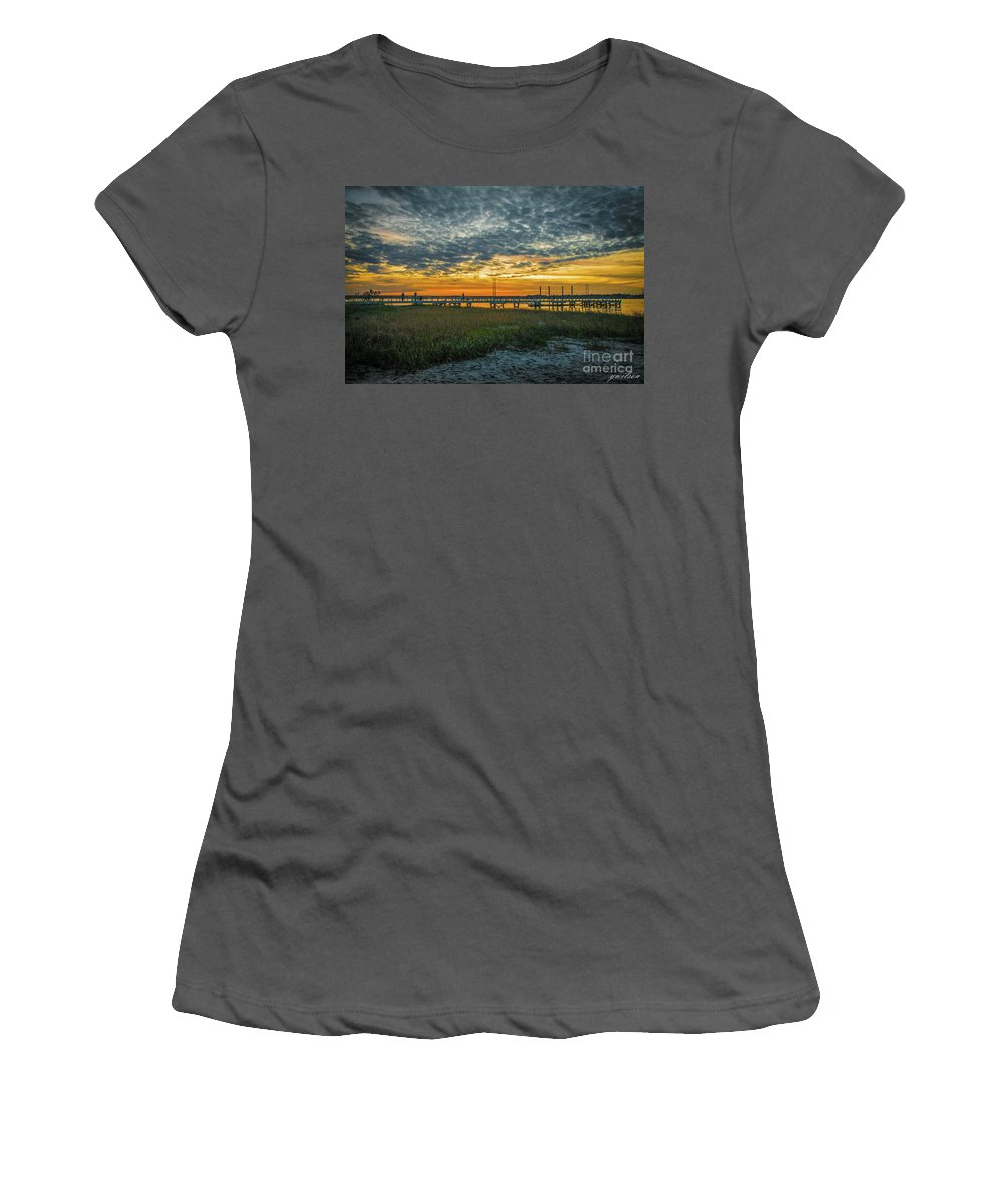 Riverfront Women's T-Shirt (Athletic Fit) featuring the photograph Those Southern Sunsets by Yvette Wilson