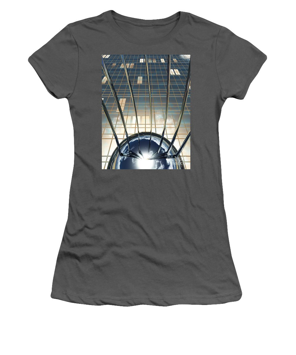 Abstract Women's T-Shirt (Athletic Fit) featuring the digital art Thought Control by Richard Rizzo