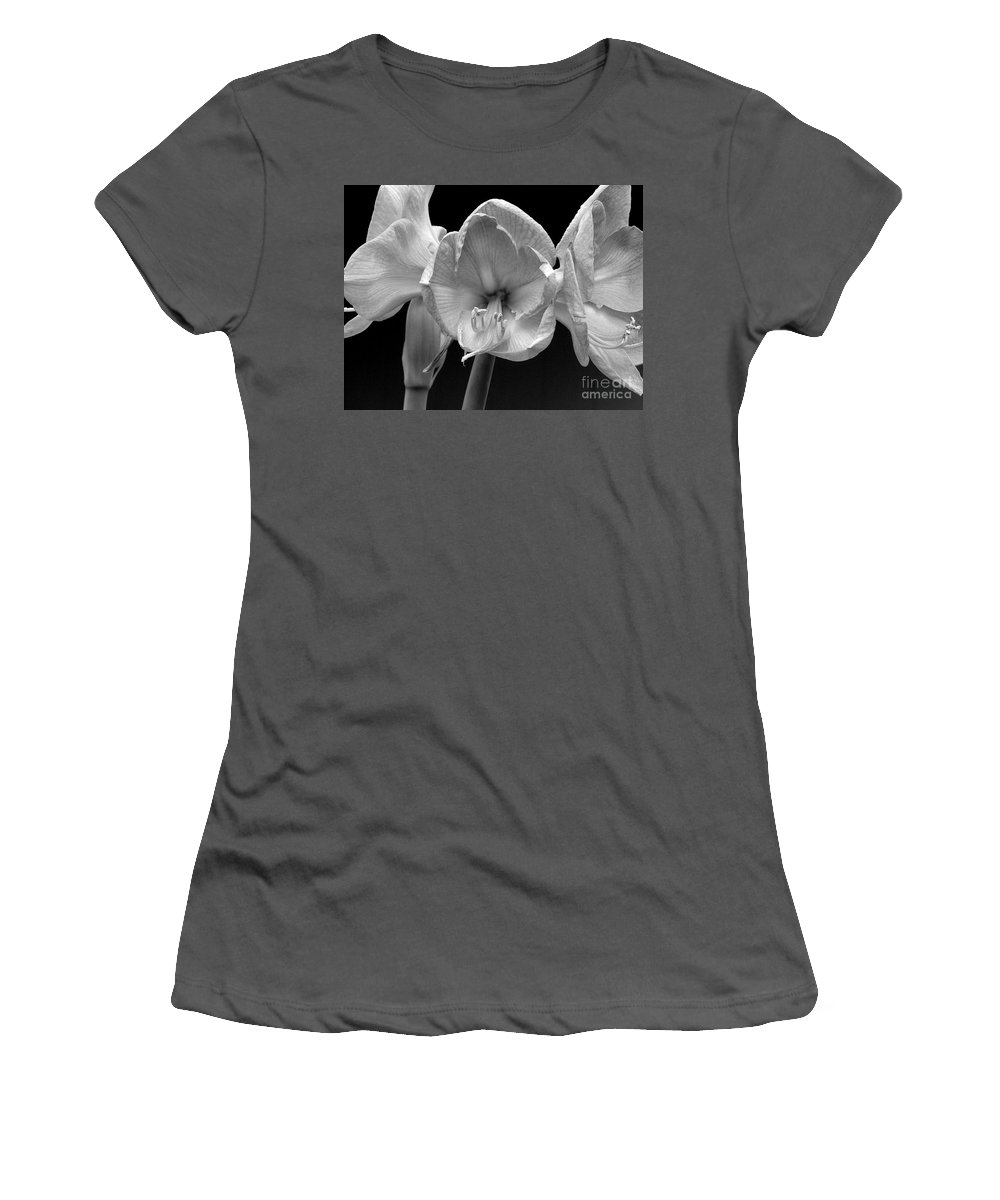 Amaryllis Women's T-Shirt (Athletic Fit) featuring the photograph Three Amaryllis Black And White Print by James BO Insogna