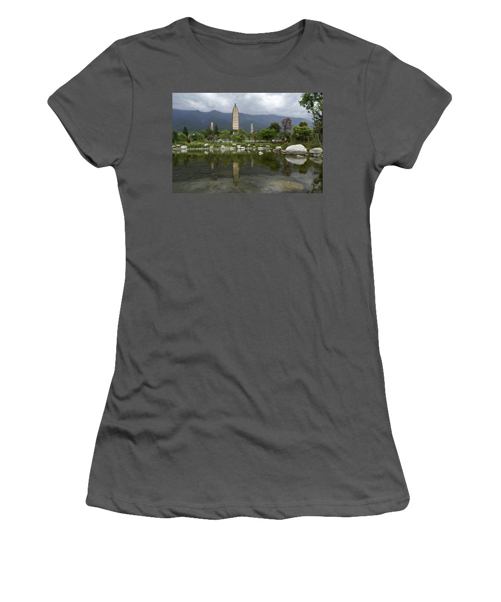 Asia Women's T-Shirt (Athletic Fit) featuring the photograph Three Pagodas Of Dali by Michele Burgess