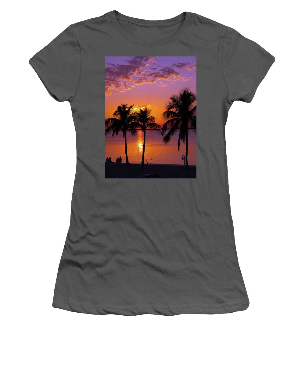 Palm Women's T-Shirt (Athletic Fit) featuring the photograph Three Palm Trees At Sunset by Lucio Cicuto