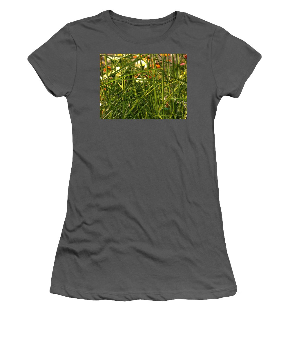 Grass Women's T-Shirt (Athletic Fit) featuring the photograph Through The Grass Curtain by Ian MacDonald