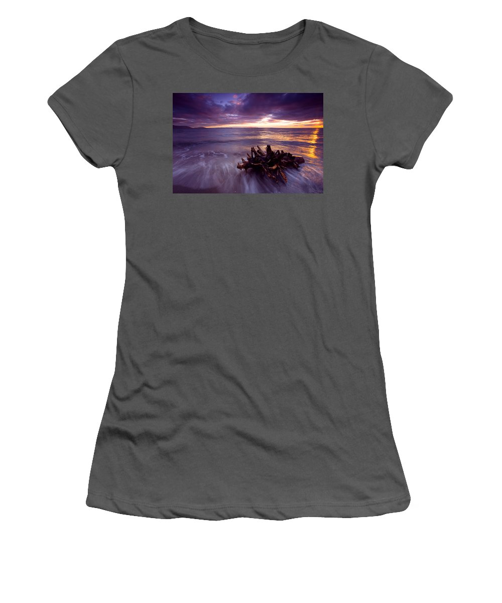 Sunset Women's T-Shirt (Athletic Fit) featuring the photograph Tide Driven by Mike Dawson