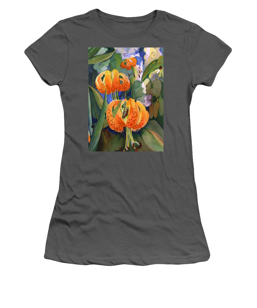 Flower Women's T-Shirt (Athletic Fit) featuring the painting Tiger Lily Parachutes by Nancy Watson