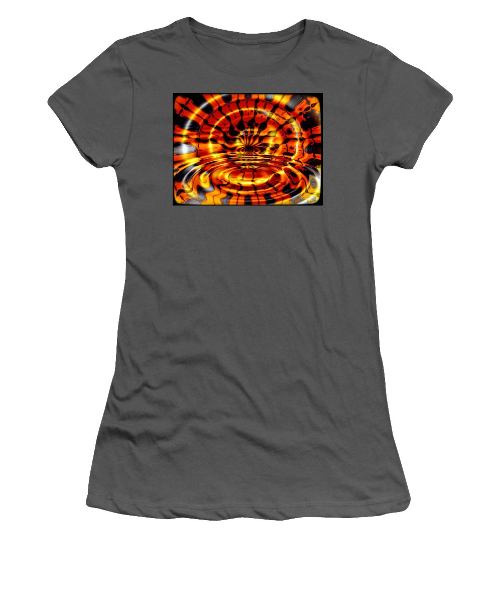 Fractal Women's T-Shirt (Athletic Fit) featuring the digital art Tiger's Eye by Robert Orinski