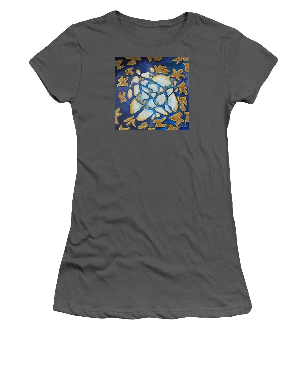 Abstract Women's T-Shirt (Athletic Fit) featuring the painting Tikkun Olam Heal The World by Laurie Morgan