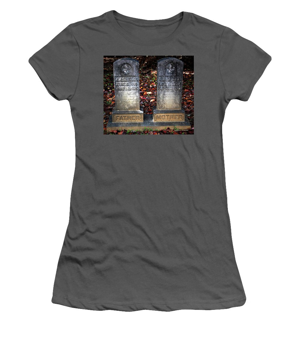 Head Stones Women's T-Shirt (Athletic Fit) featuring the photograph Til Death Do Us Part by DigiArt Diaries by Vicky B Fuller