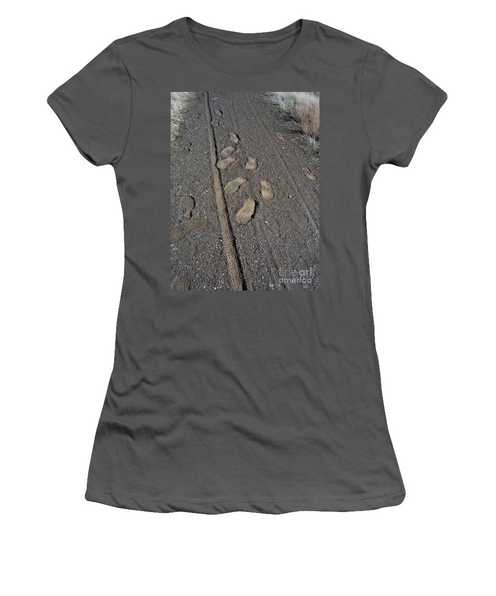 Prescott Women's T-Shirt (Athletic Fit) featuring the photograph Tire Tracks And Foot Prints by Heather Kirk