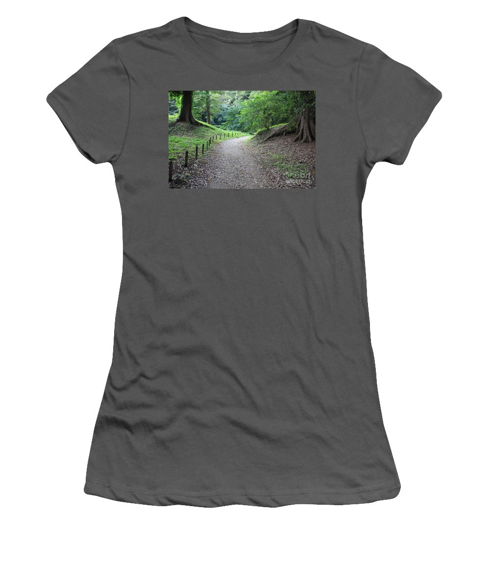 Path Women's T-Shirt (Athletic Fit) featuring the photograph Tokyo Park Path by Carol Groenen