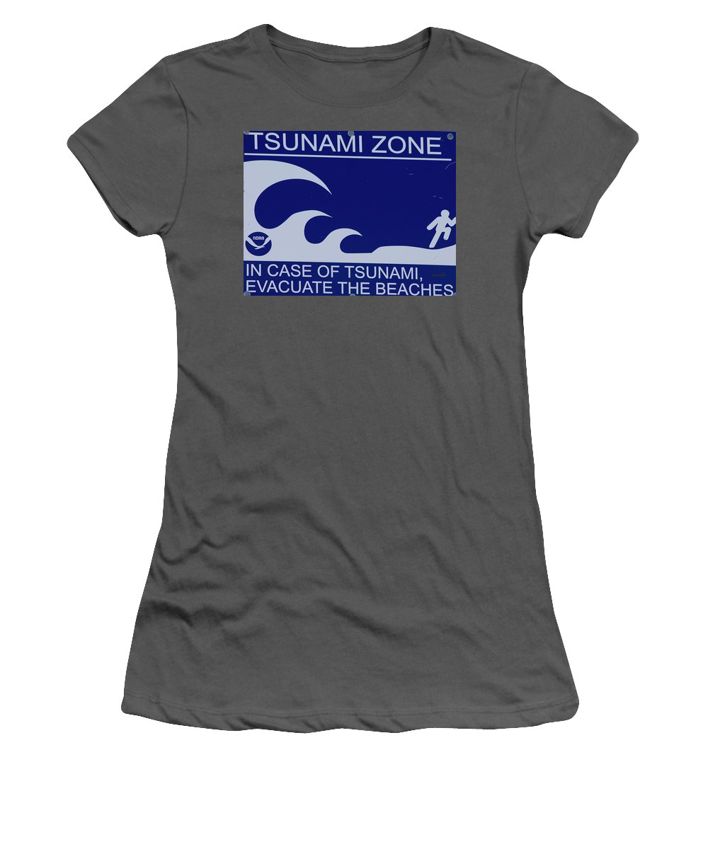 Tsunami Women's T-Shirt (Athletic Fit) featuring the photograph Topsail Island's Tsunami Zone Sign by Betsy Knapp
