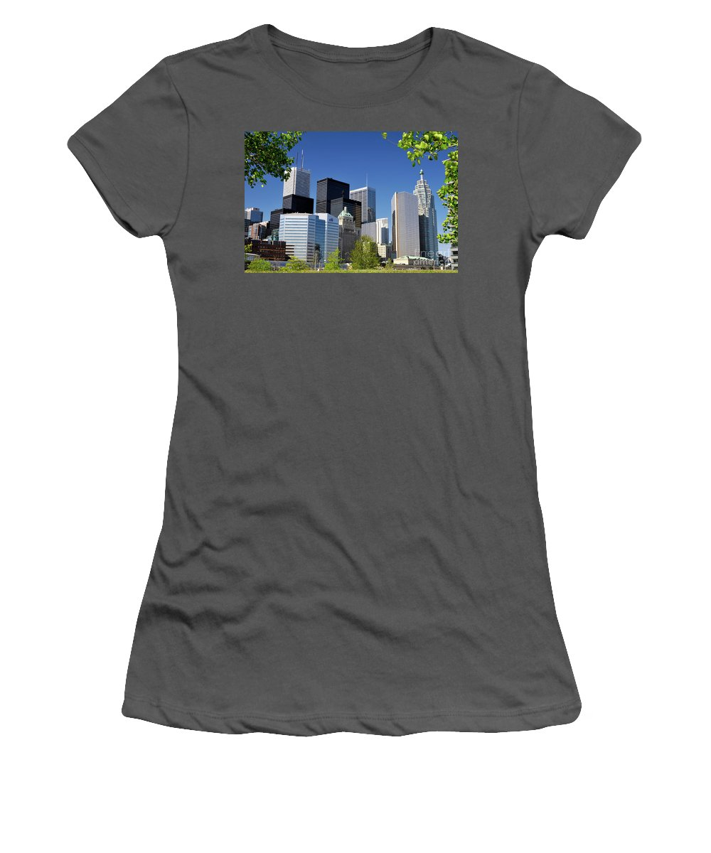 Toronto Women's T-Shirt (Athletic Fit) featuring the photograph Toronto Downtown Skyline by Oleksiy Maksymenko