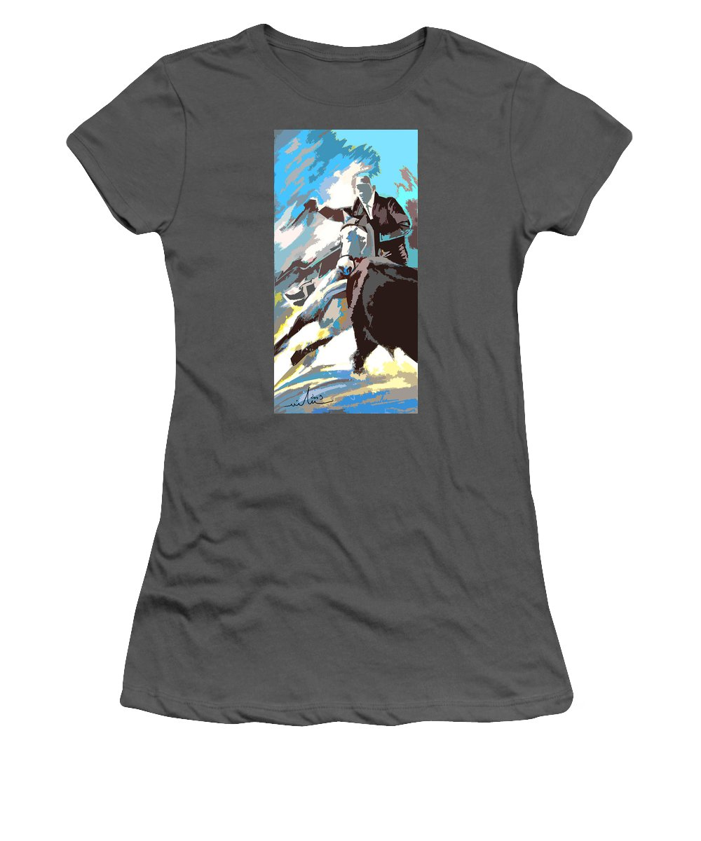 Animals Women's T-Shirt (Athletic Fit) featuring the painting Toroscape 31 by Miki De Goodaboom