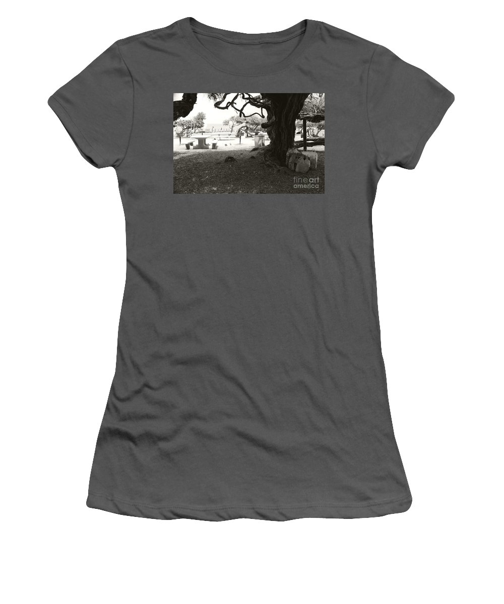 La Jolla Women's T-Shirt (Athletic Fit) featuring the photograph Torrey Pines Baggage Claim by Heather Kirk